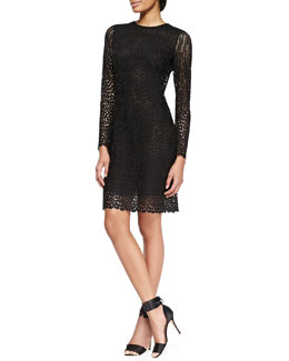 Adam Lippes Long-Sleeve Lace Keyhole Dress