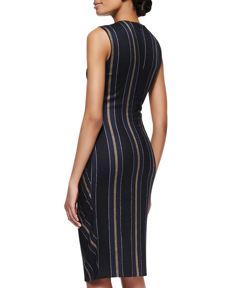 Striped Gathered-Waist Dress