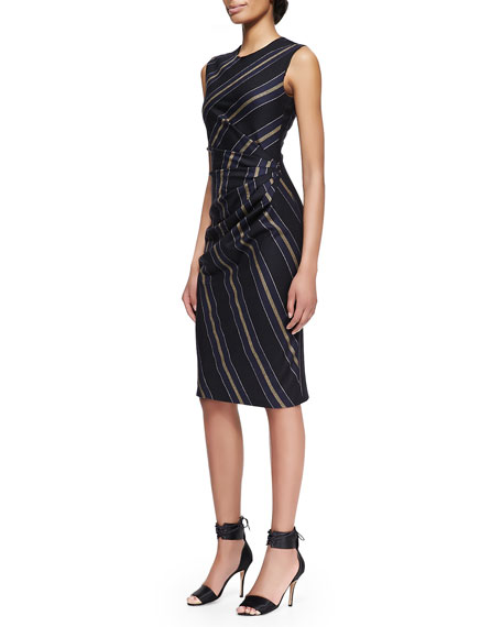 Adam Lippes Striped Gathered-Waist Dress