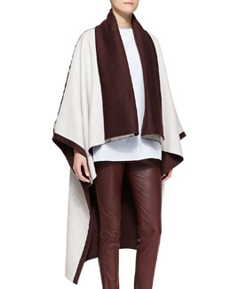 Adam Lippes Reversible Cape, Ivory/Burgundy