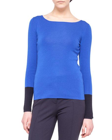 Contrast-Cuff Wool Knit Sweater
