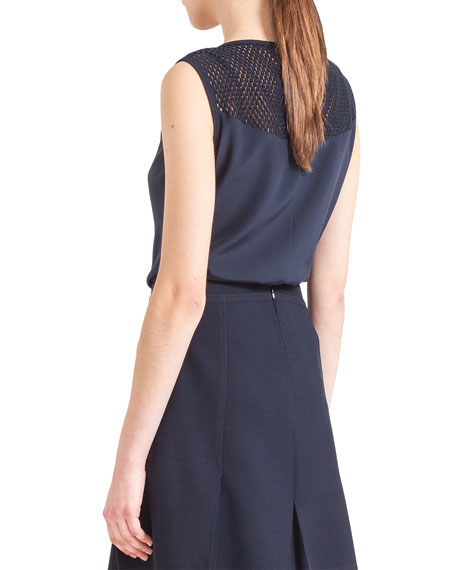 Sleeveless Embroidered-Yoke Shell, Navy