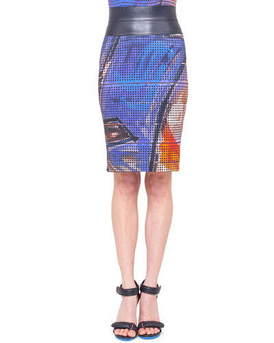 Akris punto Graffiti-Print Pencil Skirt