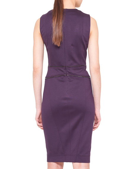 Sleeveless Zipper-Trim Jersey Dress