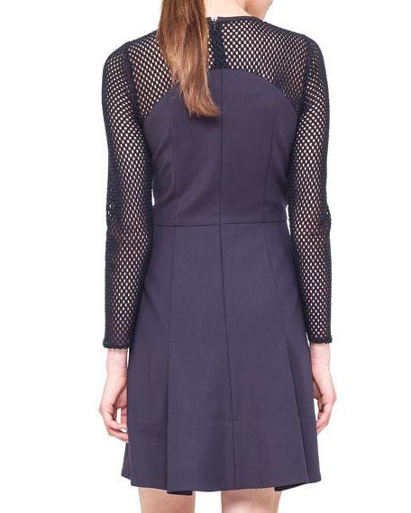 Mesh-Panel Techno A-Line Dress