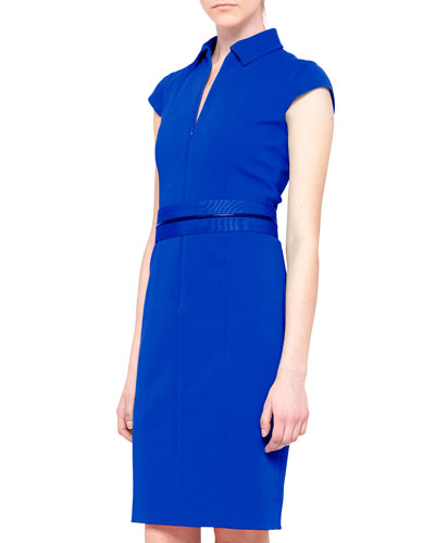 Akris punto Cap-Sleeve Zip-Waist Dress