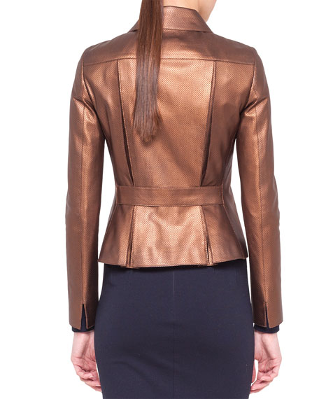 Metallic Micro-Perforated Moto Jacket