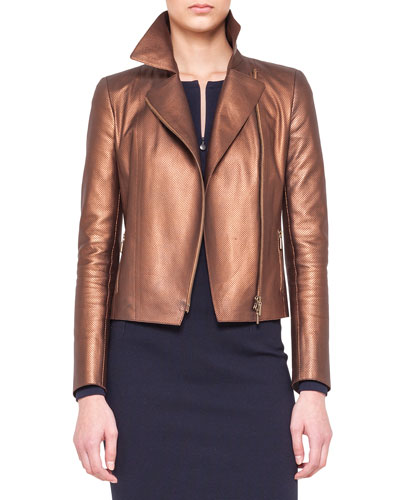 Akris punto Metallic Micro-Perforated Moto Jacket