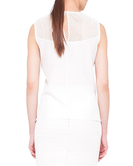 Sleeveless Embroidered-Yoke Shell, Cream