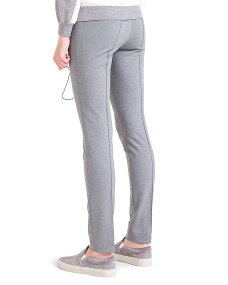 Mara Flat-Front Jersey Pants, Silver