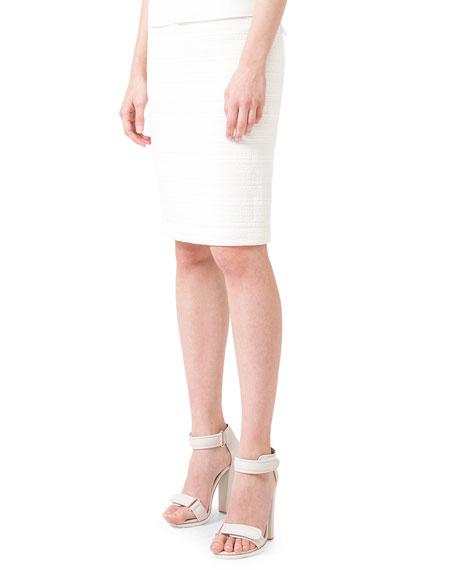 Coated Tweed Pencil Skirt