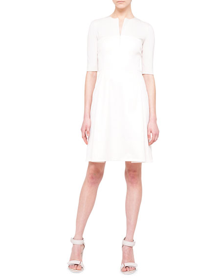 Akris punto Half-Sleeve A-Line Combo Dress, Canvas