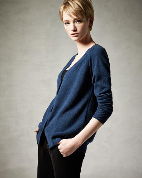 Peel-Seamed Cashmere Cardigan, Ottoman Blue