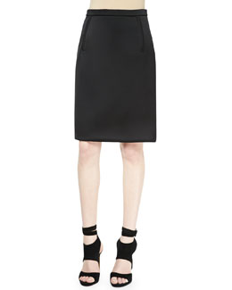 Alexander Wang Zip-Pocket Pencil Skirt, Raven Black