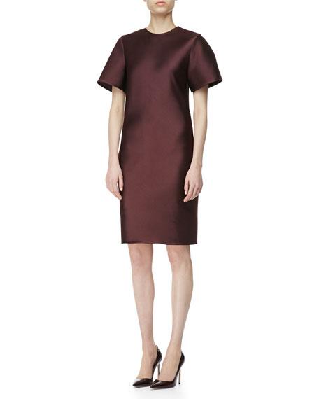 Sateen Fringe-Back T-Shirt Dress