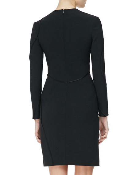 Long-Sleeve Curved-Seam Dress