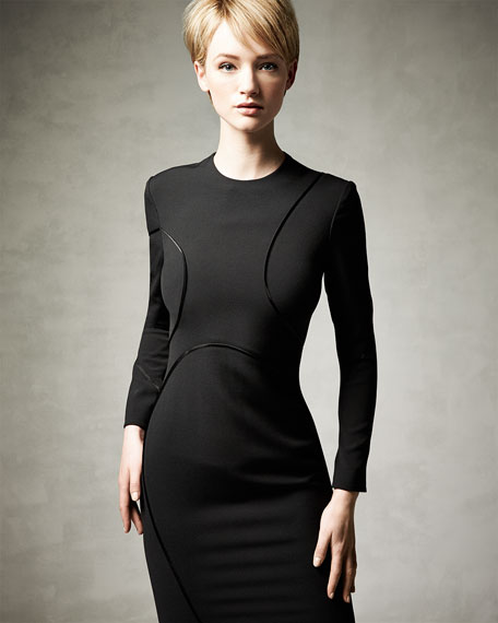 Long-Sleeve Curved-Seam Dress