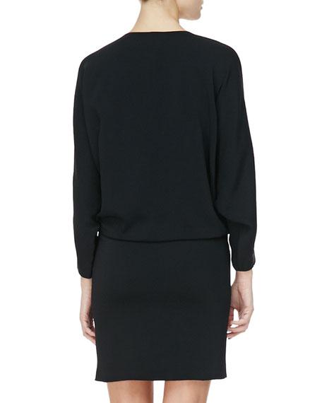 Snap-Front Blouson Shirtdress