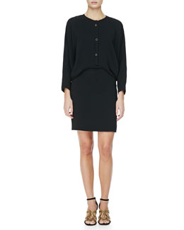 Alexander Wang Snap-Front Blouson Shirtdress