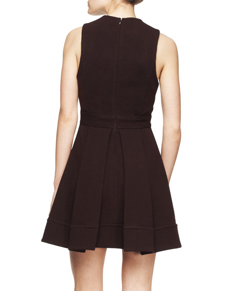 Sleeveless Wool Jersey Flare Dress