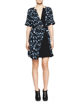Proenza Schouler Printed Belted Half-Sleeve Dress