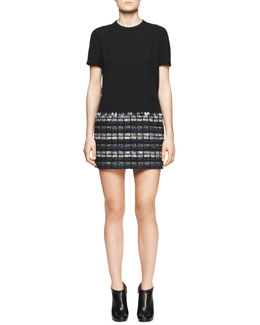 Proenza Schouler Short-Sleeve Tweed-Skirt Dress