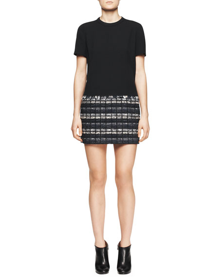 Short-Sleeve Tweed-Skirt Dress