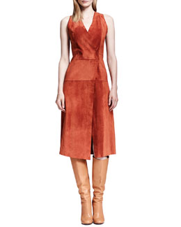 Proenza Schouler Sleeveless Suede Crossover Dress