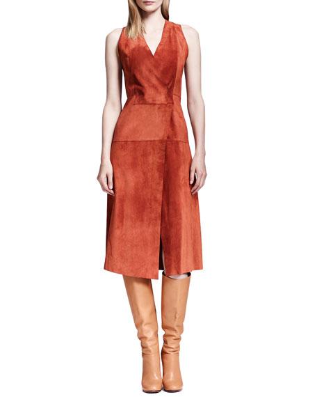 Sleeveless Suede Crossover Dress