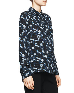 Proenza Schouler Printed Pocket Blouse, Blue/Black Cloud