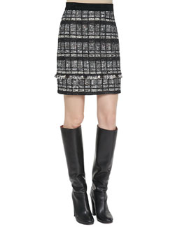 Proenza Schouler Fringe-Trim Tweed Skirt