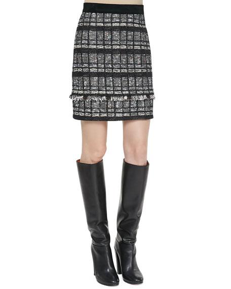 Fringe-Trim Tweed Skirt