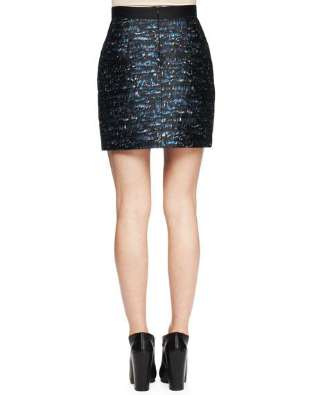 Wave-Print Jacquard Miniskirt