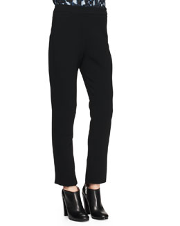 Proenza Schouler Notched Straight-Leg Stretch Pants