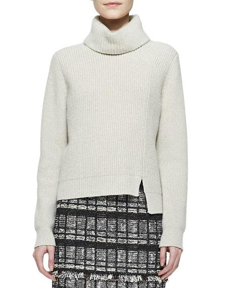 Notched-Hem Turtleneck Sweater