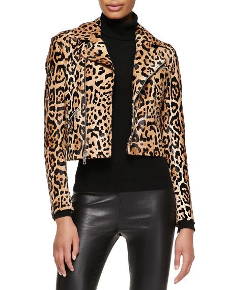 Roxana Leopard-Print Moto Jacket