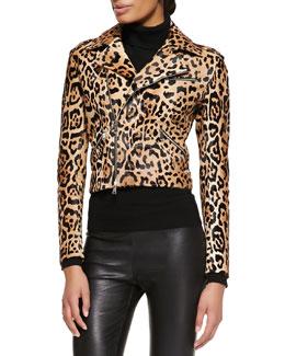 Ralph Lauren Black Label Roxana Leopard-Print Moto Jacket