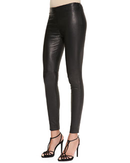Ralph Lauren Black Label Abbey Stretch Leather Skinny Pants, Black