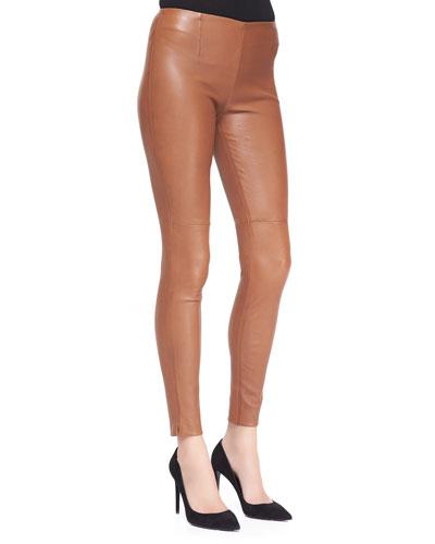 Ralph Lauren Black Label Abbey Stretch Leather Skinny Pants