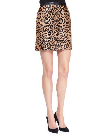 Lindell Leopard-Print Miniskirt