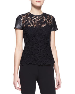 Ralph Lauren Black Label Lana Leather-Sleeve Lace Top