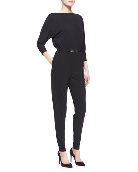 Ralph Lauren Black Label Shayla Belted Jersey Jumpsuit