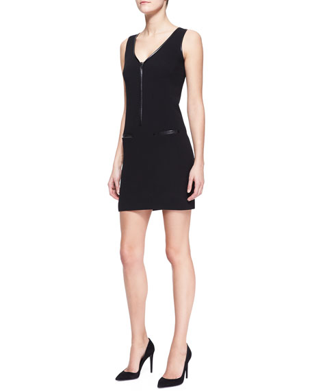 Whitemore Sheath Dress with Leather Trim, Black