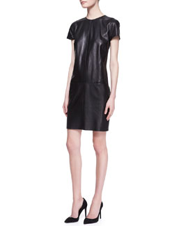 Ralph Lauren Black Label Conroy Short-Sleeve Leather Dress