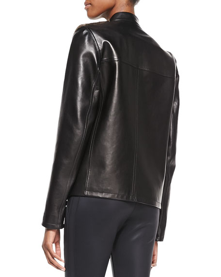 Fur-Front Leather Bomber Jacket