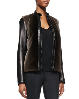 Reed Krakoff Fur-Front Leather Bomber Jacket