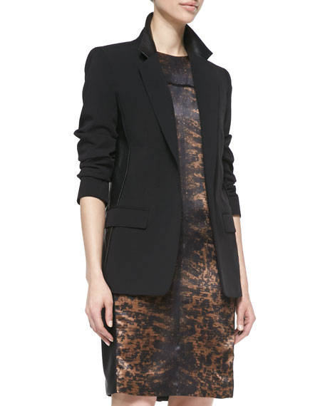 Blazer Jacket with Leather, Black