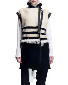 Chloe Striped Shearling Long Vest, Cream/Black