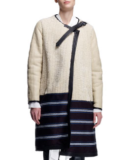 Chloe Biker Shearling Coat, Tinted White/Multi