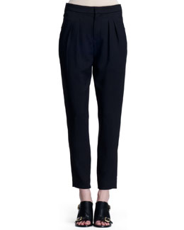 Chloe Stretch Wool Canvas Pants, Black